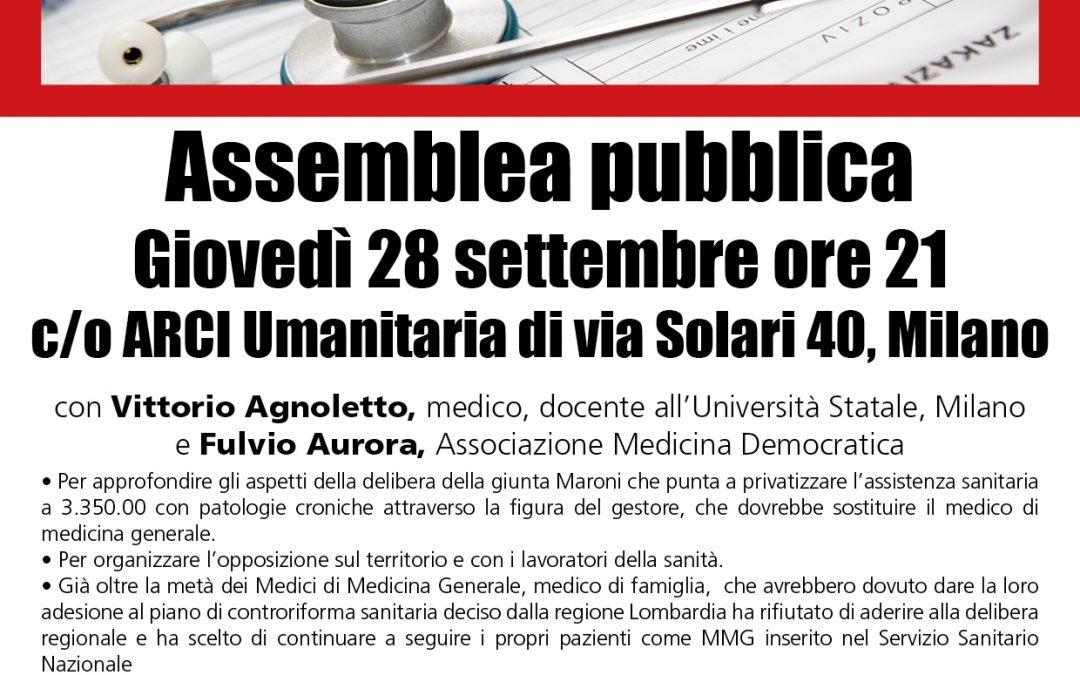 28 settembre a Milano: assemblea contro la delibera sulla cronicità che privatizza la sanità