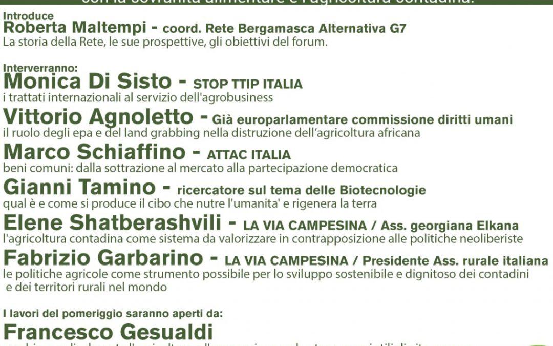 Il 14 ottobre a Bergamo in occasione del G7 sull'agricoltura.