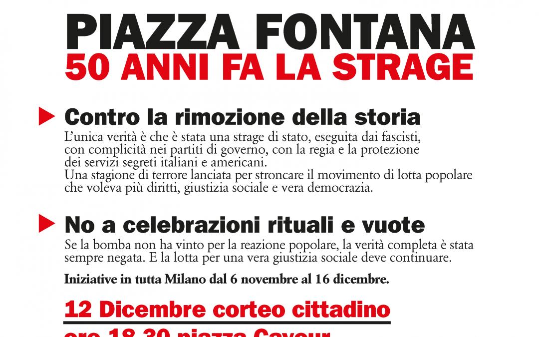 12 DICEMBRE. NOI NON DIMENTICHIAMO. H.18,30 PIAZZA CAVOUR, MILANO