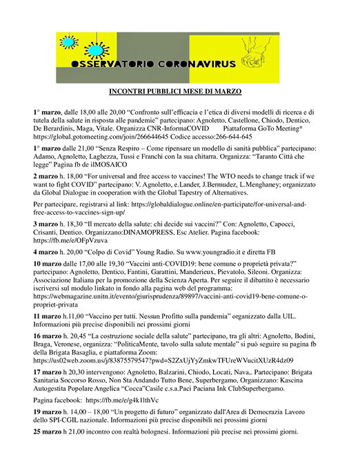 MARZO 2021: GLI INCONTRI PUBBLICI DI VITTORIO AGNOLETTO